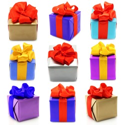 Collage of color gifts with bows on white background
