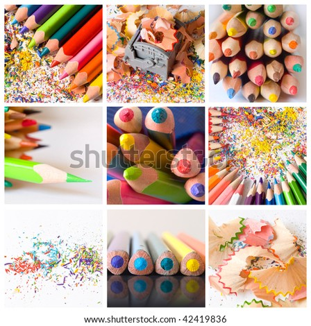 collage of colored pencils - stock photo