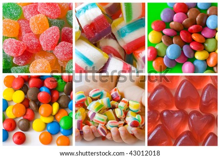 collage of colorful candies