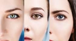Collage of colorful eyes.