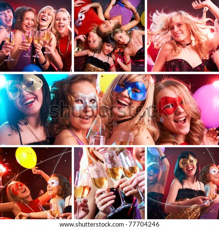 collage of colorful fun photos from the party of young and beautiful girls