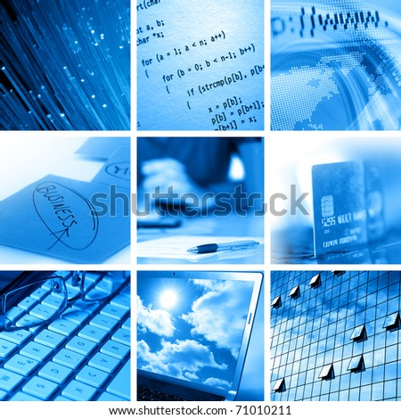 Collage of computer and business images