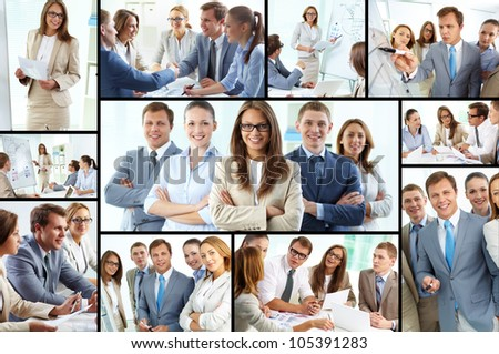 Collage of confident business team working together