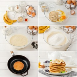 Collage of cooking oat pancakes with bananas on a white wooden background. Recipe step by step. Healthy breakfast