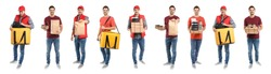Collage of courier with orders on white background. Food delivery