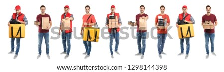 Collage of courier with orders on white background. Food delivery Stock photo ©