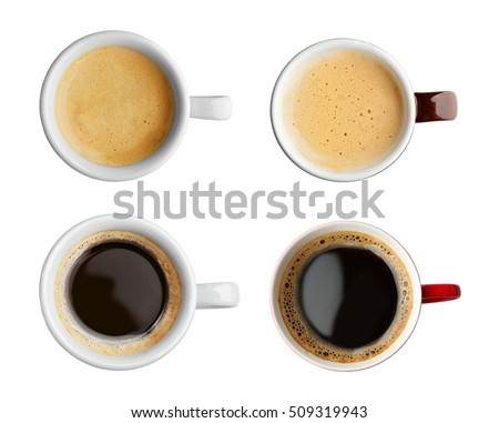 Collage of cups with tasty coffee on white background