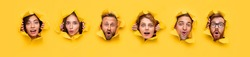 Collage of curious shocked young people peeking out of torn holes in yellow paper and looking at camera