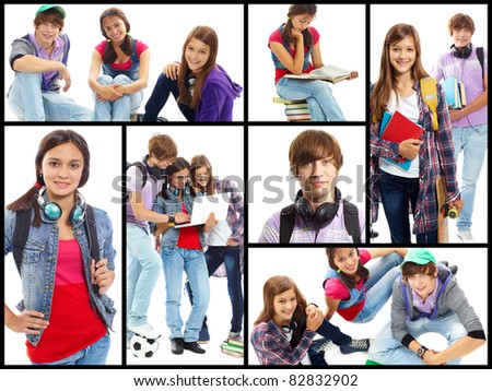 Collage of cute teens in studying process and at leisure