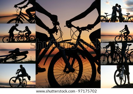 collage of cyclists on the sunset sky by the ocean