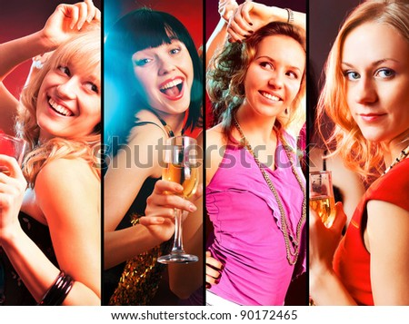 collage of Dancing  happy young girls  on the party