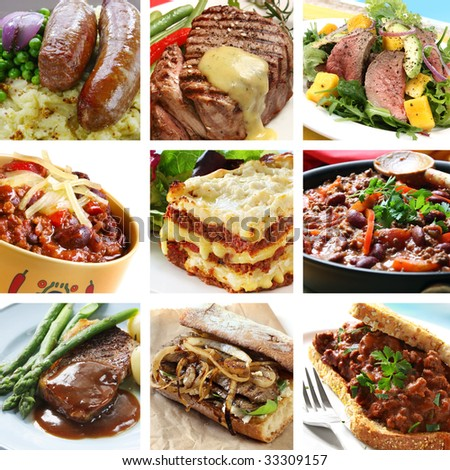 Collage of delicious beef meals.  Includes steak, sausages, chili, salad, lasagne.
