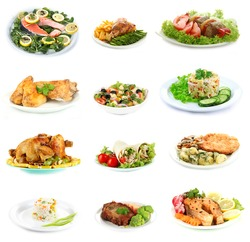 Collage of delicious dishes isolated on white