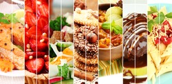 Collage of delicious food close-up