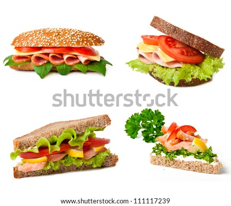 Collage of delicious sandwiches.