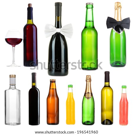 Collage of different alcohol bottles isolated on white #196541960