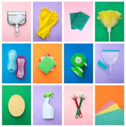Collage of different cleaning items, like rubber gloves, cleaning spray bottle, brushes, sponges and broom, on an different coloured background