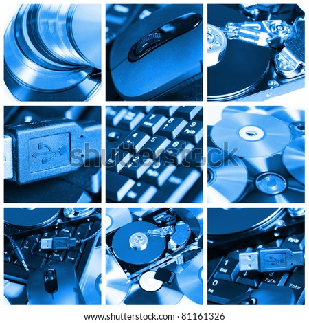 Collage of different computer devices and equipment - stock photo
