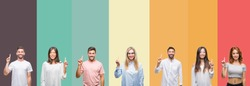 Collage of different ethnics young people over colorful stripes isolated background showing and pointing up with finger number one while smiling confident and happy.