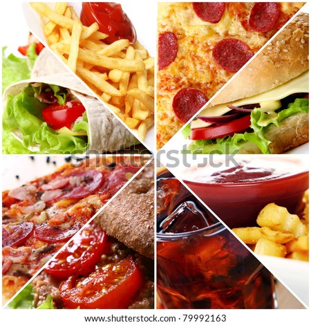 Collage of different fast food products