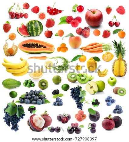 Collage of different fruits and berries on white background #727908397
