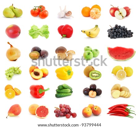 Collage of different fruits and vegetables isolated on white background