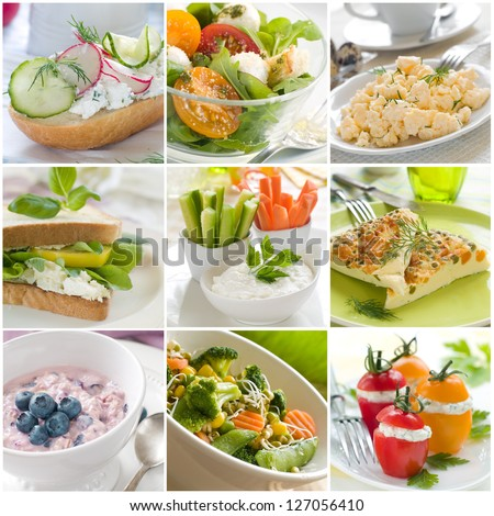Collage of different healthy breakfast photos