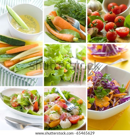 Collage of different healthy vegetables appetizer