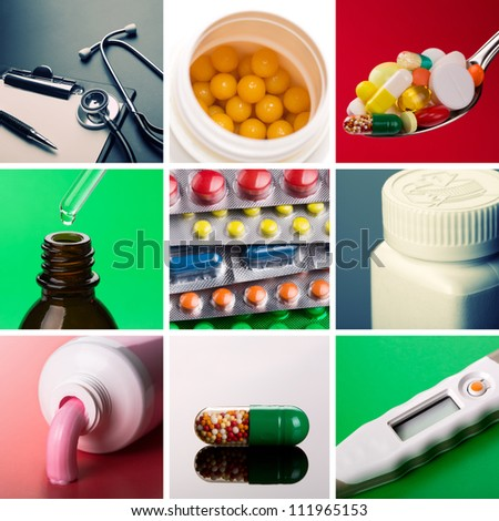 Collage of different medical supplies