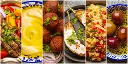 Collage of different Middle Eastern food set. Assortment of various Arab traditional dishes and products as meat kebab, falafel, hummus, couscous, baked eggplants. Concept banner or template