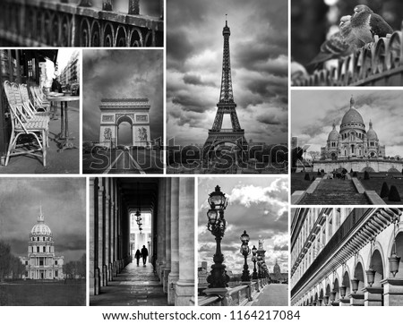 Collage of different monuments and places in black and white in Paris in France #1164217084
