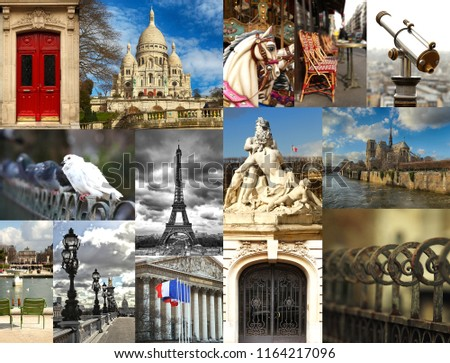 Collage of different monuments and places in Paris in France #1164217096