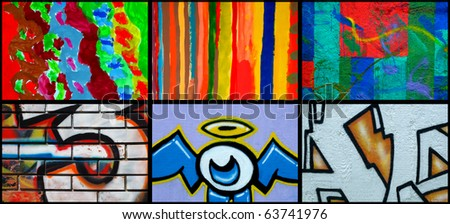 Collage of different mural as urban art