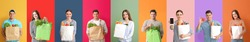 Collage of different people with blank shopping bags on color background