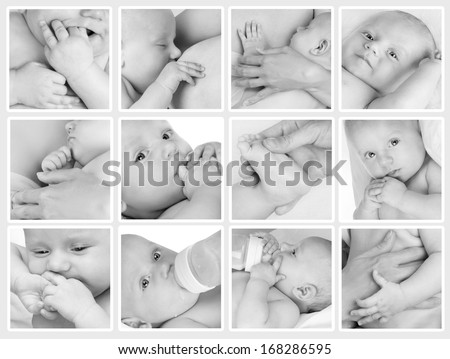 Collage of different photos of babies