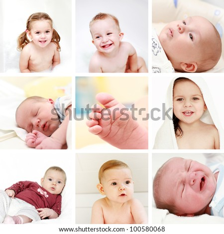 Collage of different photos of babies and kids
