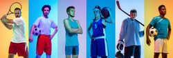 Collage of different professional sportsmen, fit people in action and motion isolated on multicolored neon background. Flyer. Concept of sport, achievements, competition, championship.