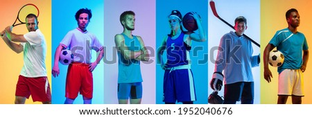 Collage of different professional sportsmen, fit people in action and motion isolated on multicolored neon background. Flyer. Concept of sport, achievements, competition, championship. Foto stock ©