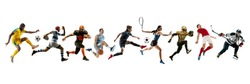 Collage of different professional sportsmen, fit people in action and motion isolated on white background. Flyer. Concept of sport, achievements, competition, championship. Basketball, football