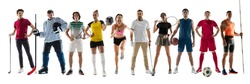 Collage of different professional sportsmen, fit people in action and motion isolated on white background. Flyer. Concept of sport, achievements, competition, championship. Golf, volleyball, tennis