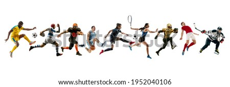 Collage of different professional sportsmen, fit people in action and motion isolated on white background. Flyer. Concept of sport, achievements, competition, championship. Basketball, football Foto stock ©