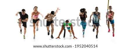 Collage of different professional sportsmen, fit people in action and motion isolated on white background. Flyer. Concept of sport, achievements, competition, championship. Running, pole vault Foto stock ©