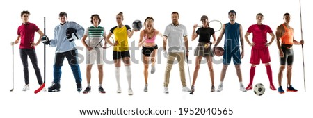 Collage of different professional sportsmen, fit people in action and motion isolated on white background. Flyer. Concept of sport, achievements, competition, championship. Golf, volleyball, tennis Foto stock ©