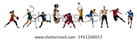 Collage of different professional sportsmen, fit people in action and motion isolated on white background. Flyer. Concept of sport, achievements, competition, championship. Hockey, gymnastics, tennis.