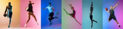 Collage of different professional sportsmen in motion and jumping on multicolored background in neon. Soccer football, ballet, basketball, tennis, swimming. Flyer for advertising, ad.