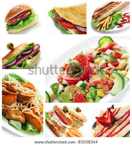 Collage of different restaurant dishes