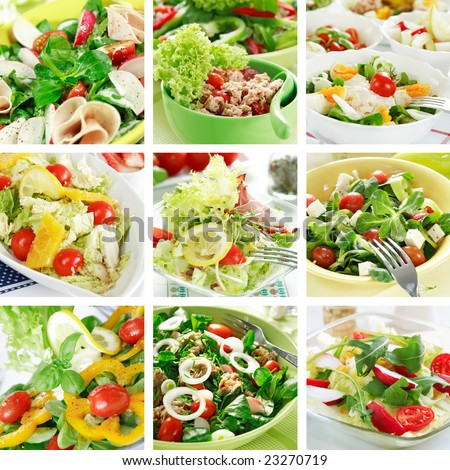 Collage Of Different Salads Stock Photo 23270719