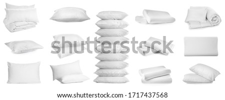 Collage of different soft pillows on white background. Banner design ストックフォト ©