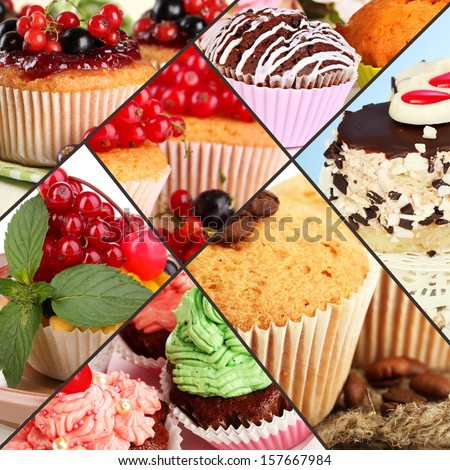 Stock Photo Collage of different tasty cupcakes