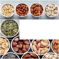 Collage of different types of nuts in ecofriendly cups high in vegan protein, vitamins and antioxidants for immune system boosting. Ecofriendly concept.